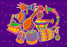 Art and music of India. Vector design of art and music of India in Indian art style Stock Photo
