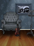 Art and Music Room. A grey scaled room with hard wood floors and music paraphanelia Royalty Free Stock Images