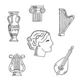 Art and musical instruments sketches Stock Photography