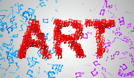 Art Musical Note Particles 3D Lizenzfreie Stockfotos