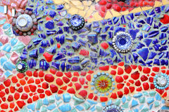 Art. muur van het achtergrond het kleurrijke glasmozaïek. Stock Afbeelding