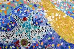 Art. muur van het achtergrond het kleurrijke glasmozaïek. Stock Foto