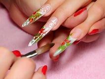 Art nail. Working process. Stock Image