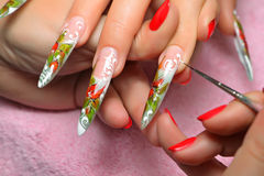 Art nail. Working process. Royalty Free Stock Image