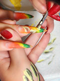 Art nail. Working process. Royalty Free Stock Photography