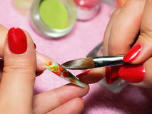 Art nail. Working process. Royalty Free Stock Images