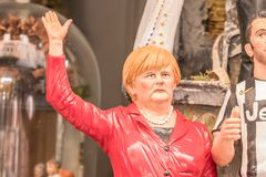 Angela Merkel, famous Statuette in Napes. The art of Neapolitan nativity of S. Gregorio Armeno, S. Gregorio Armeno is a small street in the old town of Naples Royalty Free Stock Photos