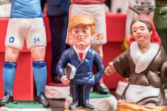 Donald Trump, famous Statuette in Napes. The art of Neapolitan nativity of S. Gregorio Armeno, S. Gregorio Armeno is a small street in the old town of Naples Royalty Free Stock Image