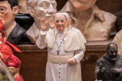 Pope Francesco Statuette in Napes. The art of Neapolitan nativity of S. Gregorio Armeno, S. Gregorio Armeno is a small street in the old town of Naples, Italy Stock Image