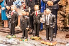 Trump and Kim Jong-un statuette. The art of Neapolitan nativity of S. Gregorio Armeno, S. Gregorio Armeno is a small street in the old town of Naples, Italy Stock Photography