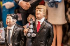 Trump and Kim Jong-un statuette. The art of Neapolitan nativity of S. Gregorio Armeno, S. Gregorio Armeno is a small street in the old town of Naples, Italy Royalty Free Stock Photography