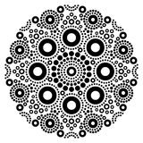 Art noir et blanc de vecteur de mandala, point australien peignant la conception décorative, style indigène de bohémien d'art pop Photo libre de droits