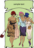 Art-Nouveau-0001. Three going girls of the beginning of 20 centuries Royalty Free Illustration