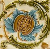 Art Nouveau antique tile. An Art Nouveau antique majolica tile dating around 1895 Stock Images