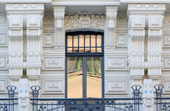 Art Nouveau architecture in Riga, Latvia. Balcony and window of historical art nouveau building in Riga, Latvia Royalty Free Stock Photography