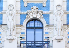 Art Nouveau architecture in Riga, Latvia. Balcony and window of historical art nouveau building in Riga, Latvia Royalty Free Stock Photos