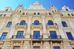 Art Nouveau architecture in Riga, Latvia. Facade of historical art nouveau building in Riga, Latvia Stock Photos