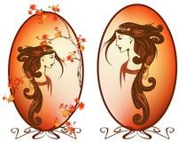 Art nouveau autumn vector. Art nouveau style autumn season woman with long beautiful hair portrait vector illustration