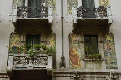 Art Nouveau balconies. Milan, Italy - October 4, 2015: balconies of a residential building on the Via Marcello Malpighi Royalty Free Stock Photos