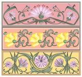 Art-nouveau banners set. Vector set of art nouveau style borders with botanical ornaments Stock Images