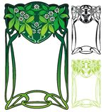Art nouveau border. Art nouveau style border with leaves and flowers Stock Photography
