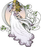 Art Nouveau Bride Royalty Free Stock Photography