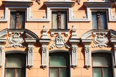 Art Nouveau building in Astrakhan stock photos