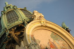 Art nouveau building rooftop, Prague Stock Image