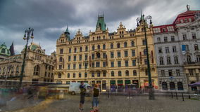 Art Nouveau buildings timelapse hyperlapse in Old Town Stare Mesto by Prague Namesti Republiky station. Prague, Czech stock video