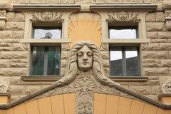 Art Nouveau byggnad i Riga Royaltyfria Bilder