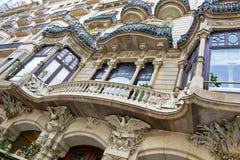 Art Nouveau byggnadsfasad i Barcelona, Spanien Royaltyfri Bild