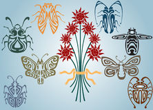 Art nouveau collection insects. There are many insects art nouveau collection Royalty Free Stock Photography