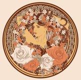 Art Nouveau denominou a mulher no círculo ilustração royalty free