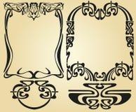 Art Nouveau design framework. Retro frame with calligraphic swirls and vintage floral elementapi at the edges, vintage ornaments separators for books, decor Stock Image