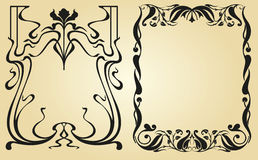 Art Nouveau design framework. Retro frame with calligraphic swirls and vintage floral elementapi at the edges, vintage ornaments separators for books, decor Stock Images