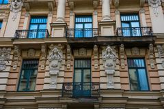 Art Nouveau District Jugendstil in Riga. On a sunny summer day, Latvia stock photo