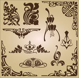 Art Nouveau elements and corners design ornament Royalty Free Stock Images