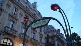 Art Nouveau entrance to Paris Metro subway. Paris, France - July 22, 2017: Art Nouveau entrance to Paris Metro subway stock video