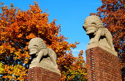 Art-Nouveau Entrance to Park Rosenhoehe in Darmstadt. The two lions mark the typical art nouveau entrance to the historical Park Rosenhöhe (Rose heights) in Stock Image