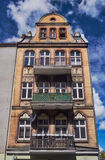 Art Nouveau facade of the building with balconies Stock Photos
