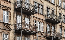 Art Nouveau facade of the building with metal balconies Royalty Free Stock Images