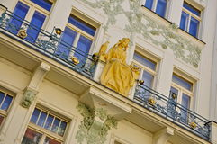 Art Nouveau Facade Prague Royaltyfri Foto