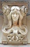 Art Nouveau Female byst, Barcelona, Spanien arkivfoton