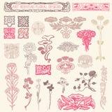 Art Nouveau Floral Ornaments Images libres de droits