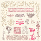 Art Nouveau Floral Ornaments Stock Photos