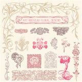 Art Nouveau Floral Ornaments Stock Photos