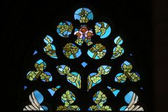 Art Nouveau floral pattern. Stained glass window. Art Nouveau floral pattern. Stained glass window in Saint Barbara Church in Kutna Hora, Czech Republic Stock Photography