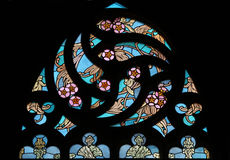 Art Nouveau floral pattern. Stained glass window. Stock Photo