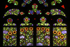 Art Nouveau floral pattern. Stained glass window. Art Nouveau floral pattern. Stained glass window in Saint Barbara Church in Kutna Hora, Czech Republic Royalty Free Stock Image