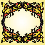 Art nouveau frame. Abstract frame stylized on secession with butter-flies Royalty Free Stock Photos